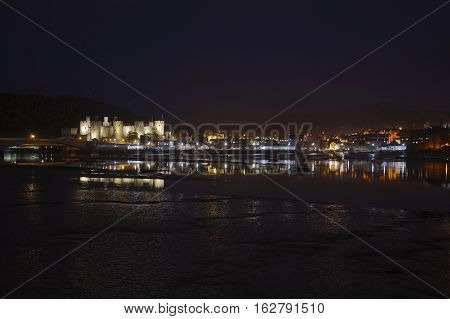 Conwy Castle & Key Reflections At Night