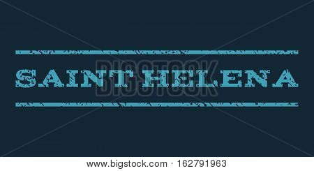 Saint Helena watermark stamp. Text caption between horizontal parallel lines with grunge design style. Rubber seal stamp with unclean texture. Vector blue color ink imprint on a dark blue background.