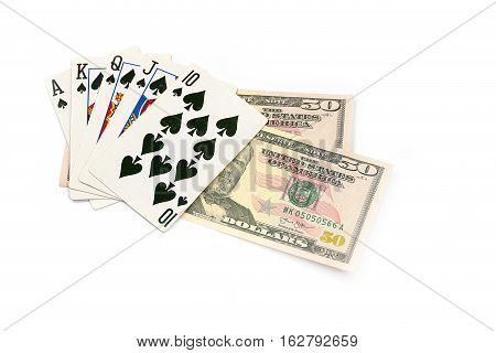 a great combination of cards in the game of poker and paper money dollar bet