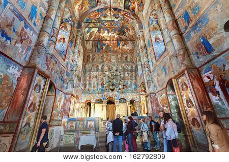 ROSTOV, RUSSIA - SEPTEMBER 03, 2016: Interior of Church of the Resurrection of Christ in Rostov Kremlin. Rostov is one of oldest town in the Russia and tourist center of Golden Ring
