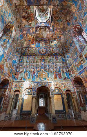 ROSTOV, RUSSIA -  SEPTEMBER 03, 2016: Interior of Church of St. John the Theologian, Rostov Kremlin