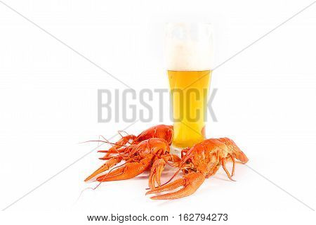 a tall glass of light beer and appetizer of boiled crayfish