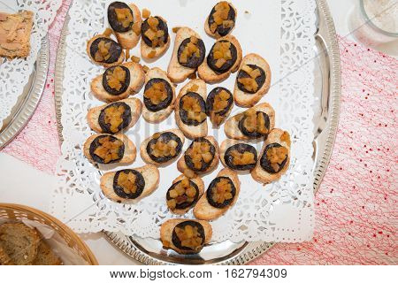 Tapas Of Sausage Black Boudin With Apple