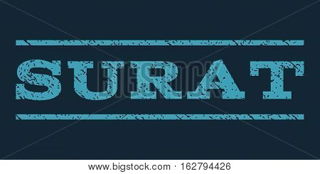Surat watermark stamp. Text tag between horizontal parallel lines with grunge design style. Rubber seal stamp with dirty texture. Vector blue color ink imprint on a dark blue background.