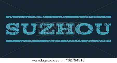 Suzhou watermark stamp. Text tag between horizontal parallel lines with grunge design style. Rubber seal stamp with scratched texture. Vector blue color ink imprint on a dark blue background.