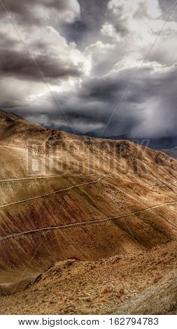 Scene of turning roads in nubra valley , leh ladakh india