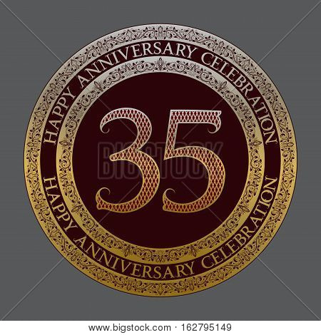 Thirty fifth anniversary celebration logo symbol. Golden maroon medal emblem in vintage style.