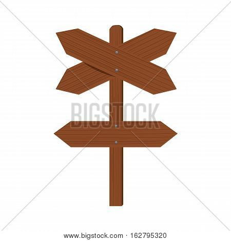 Wooden plates and an index of direction. Cross Arrow signing different directions. Flat color style design.