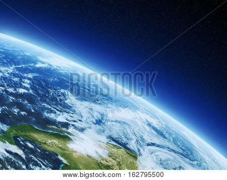 Earth from space, 3d render concept illustration