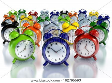 Colourful alarm clocks on white background 3D