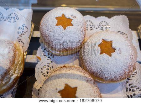 Fresh tasty tradition donuts for Hanukkah celebration