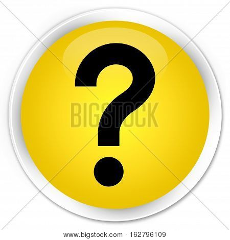 Question Mark Icon Premium Yellow Round Button