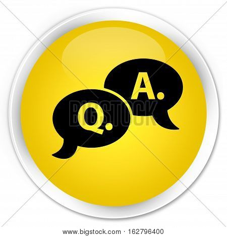 Question Answer Bubble Icon Premium Yellow Round Button