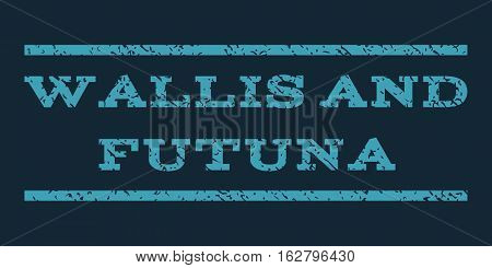 Wallis and Futuna watermark stamp. Text tag between horizontal parallel lines with grunge design style. Rubber seal stamp with dirty texture. Vector blue color ink imprint on a dark blue background.