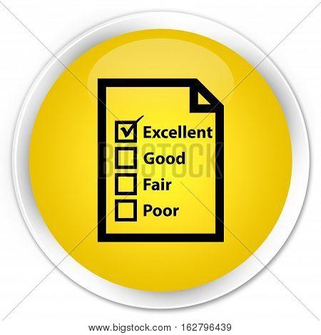 Questionnaire Icon Premium Yellow Round Button