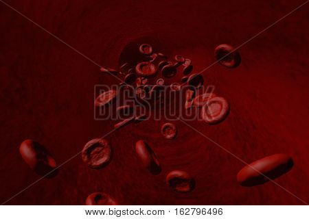 Red Blood Cells Moving Through A Blood Vessel Toward The Camera