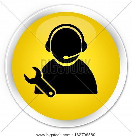 Tech Support Icon Premium Yellow Round Button