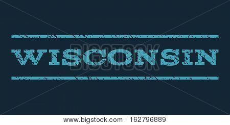 Wisconsin watermark stamp. Text tag between horizontal parallel lines with grunge design style. Rubber seal stamp with dust texture. Vector blue color ink imprint on a dark blue background.