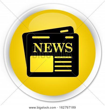 Newspaper Icon Premium Yellow Round Button