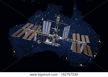 International Space Station over Australia. Elements of this image furnished by NASA.