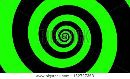 Green & Black spiral Optical illusion illustration, abstract background graphics asset, Hypnotising whirlpool effect