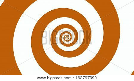 Orange & white spiral Optical illusion illustration, abstract background graphics asset, Hypnotising whirlpool effect