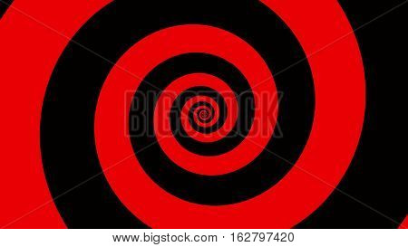 Red & black spiral Optical illusion illustration, abstract background graphics asset, Hypnotising whirlpool effect