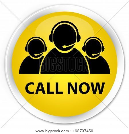 Call Now (customer Care Team Icon) Premium Yellow Round Button