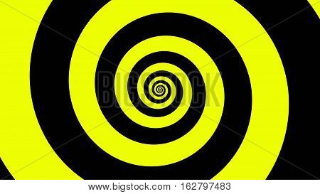 Yellow & Black spiral Optical illusion illustration, abstract background graphics asset, Hypnotising whirlpool effect