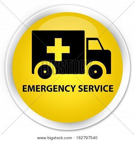 Emergency Service Premium Yellow Round Button