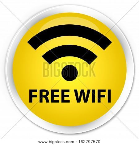 Free Wifi Premium Yellow Round Button