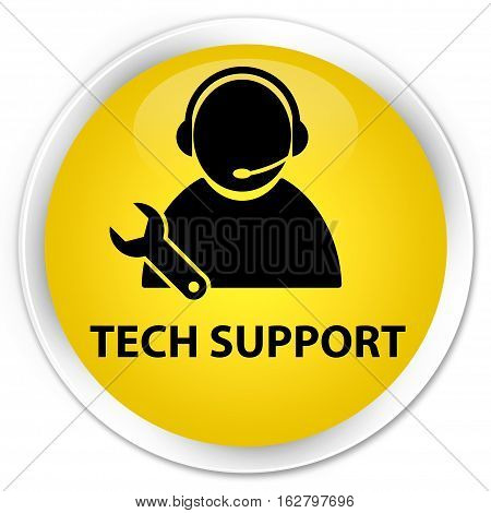 Tech Support Premium Yellow Round Button