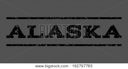 Alaska watermark stamp. Text tag between horizontal parallel lines with grunge design style. Rubber seal stamp with scratched texture. Vector black color ink imprint on a gray background.