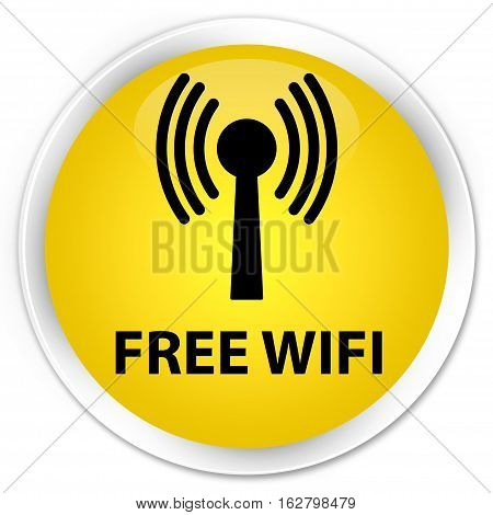 Free Wifi (wlan Network) Premium Yellow Round Button