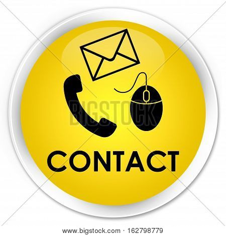 Contact (phone, Email And Mouse Icon) Premium Yellow Round Button