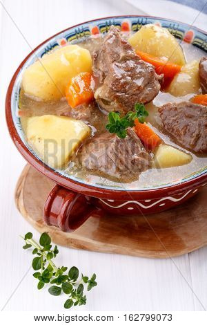 Meat stew with potatoes and carrots. Goulash soup.