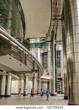 KUALA LUMPUR, MALAYSIA - JANUARY 12, 2014: Main entrance of the Petronas Twin Towers. Kuala Lumpur, Malaysia