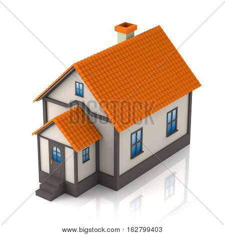 3d illustration of a house isolated on a white back