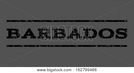 Barbados watermark stamp. Text caption between horizontal parallel lines with grunge design style. Rubber seal stamp with scratched texture. Vector black color ink imprint on a gray background.