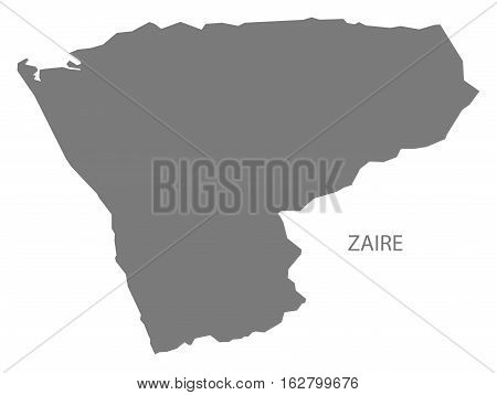 Zaire Angola Map grey province silhouette illustration