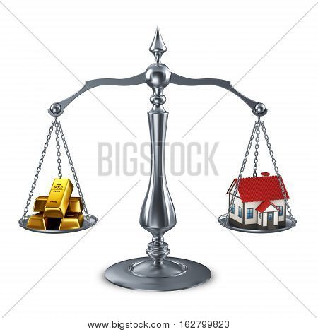 Scales with House and gold bars 3d render
