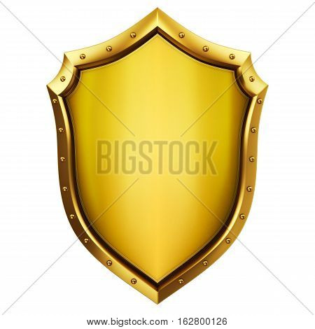 Golden shield on white,, security concept 3d illudtration