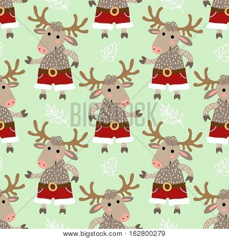 Winter vector seamless pattern with cute deer