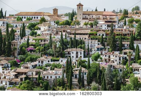 Closeup detailed view of Albaicin of Granada, Spain