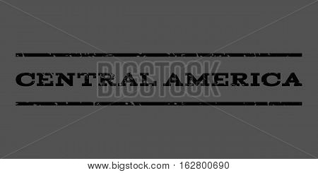 Central America watermark stamp. Text tag between horizontal parallel lines with grunge design style. Rubber seal stamp with dust texture. Vector black color ink imprint on a gray background.