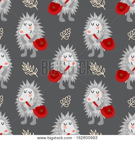 Seamless pattern with cute hedgehog with bag