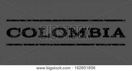 Colombia watermark stamp. Text tag between horizontal parallel lines with grunge design style. Rubber seal stamp with dust texture. Vector black color ink imprint on a gray background.