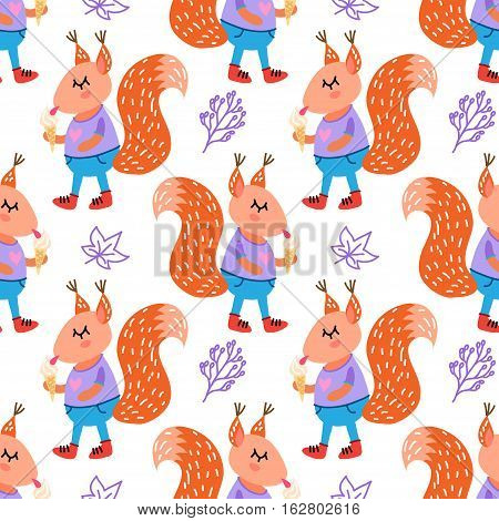 Vector seamless pattern with funny cute squirrels
