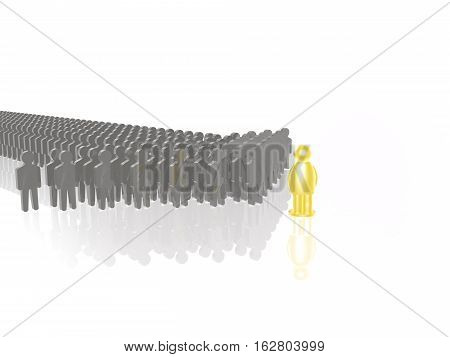 Yellow and grey mans on white reflective background 3D illustration.