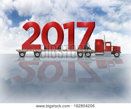 2017 On Flatbed Truck - 3D Illustration